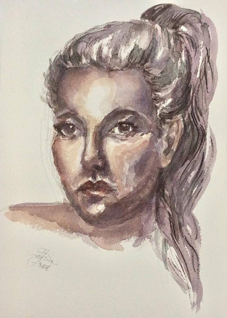 Självporträtt i akvarell